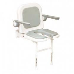 Ausili per il BagnoALLMOBILITYSedile imbottito con schienale, braccioli e seduta aperta per doccia