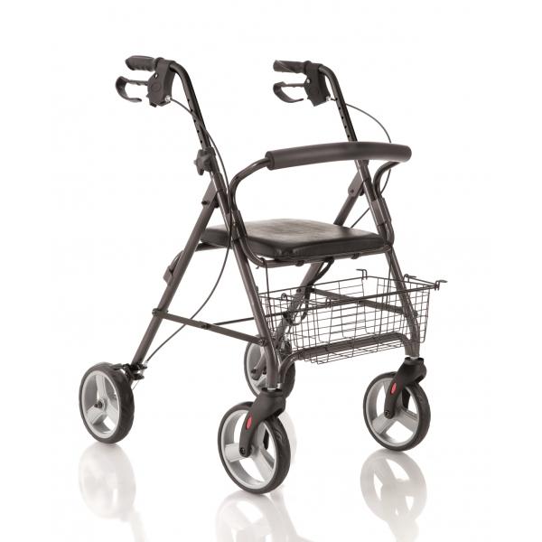 MOPEDIA  Rollator pieghevole in alluminio verniciato - 4 ruote e seduta imbottita Cod. RP520