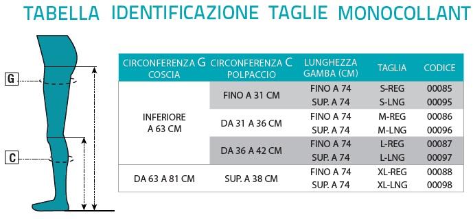 tabella identificazione taglie